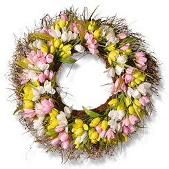 Mixed Tulip Wreath