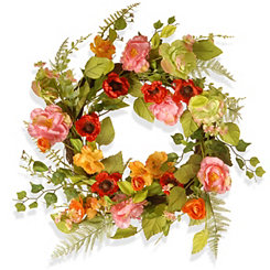 Spring Flowers on Woven Branch Base Wreath