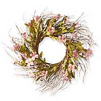 Pink Dogwood Flowers on Wood Branch Base Wreath