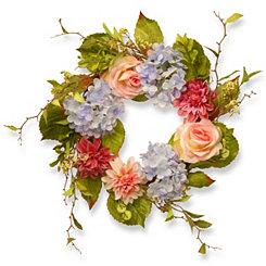 Dahlia, Hydrangea, and Rose Wreath