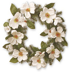 Cream Magnolia with Green Leaves Wreath