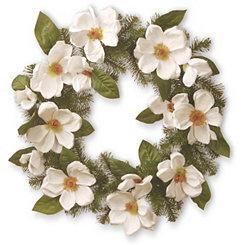 Cream Magnolia with Green Leaves Wreath