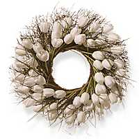 White Tulips with Green Stems Wreath