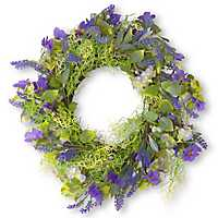 Purple Flowers with Woven Branch Wreath