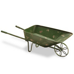 Antique Green Metal Wheelbarrow Planter