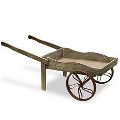 Light Gray Wooden Garden Cart Planter