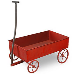 Red Metal Antique Wagon Planter
