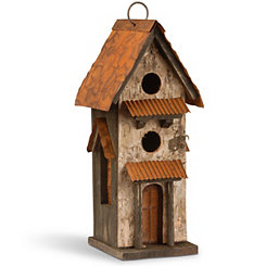 Handcrafted Wood with Distressed Roof Bird House