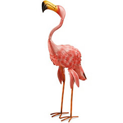 Metal Long Neck Flamingo Statue