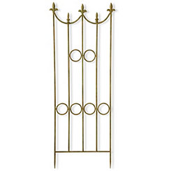 Ornate Olive Green Metal Garden Panel with Stakes