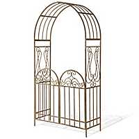 Rusted Brown Ornate Metal Garden Gate with Arch