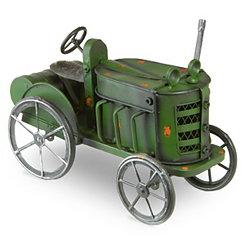 Metal Green Tractor Garden Statue