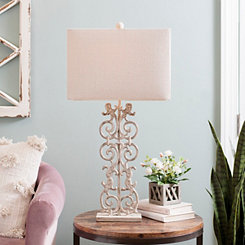 Sandy Pearl Scroll Table Lamp