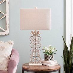 Sandy Pearl Scroll Table Lamp