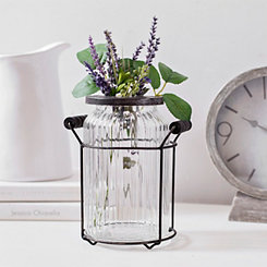 Ribbed Glass Vase with Metal Stem Holder