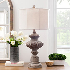 Distressed Gray Maner Table Lamp