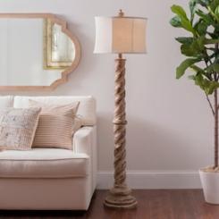 Davis Distressed Beaded Woodtone Floor Lamp
