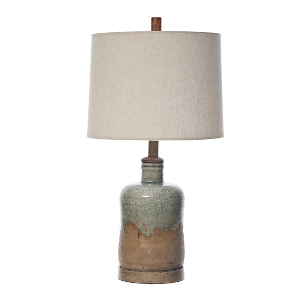 Blue Washed Pine Ceramic Table Lamp