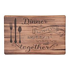 Dinner is Better Faux Wood Kitchen Mat
