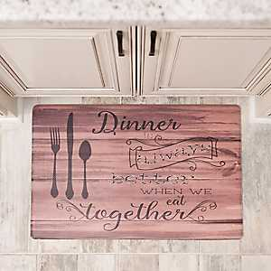 Dinner is Better Faux Wood Kitchen Mat