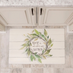 Home Wreath on Faux Shiplap Kitchen Mat