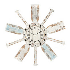 Distressed Wood Oar Wall Clock