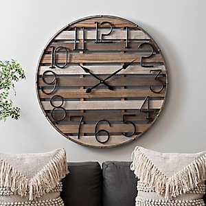 Multi-Plank Wood and Metal Wall Clock