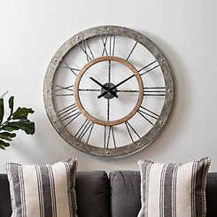 Ethan Galvanized Metal Open Face Wall Clock