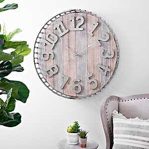 Galvanized Basket Wall Clock