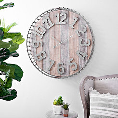 Galvanized Basket Wall Clock