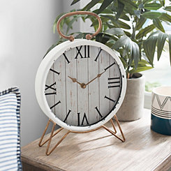 Distressed White and Gold Tabletop Clock