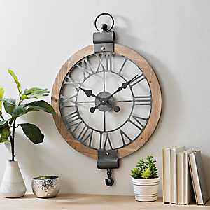 Metal and Wood Round Pulley Wall Clock