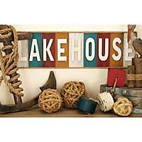 Colorful Lakehouse Wood Block Sign with Rope