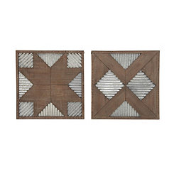 Wood and Metal Geometric Wall Plaques, Set of 2