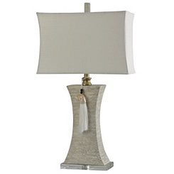 Ivory Tapered Table Lamp with Shell Tassel