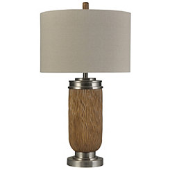 Cocoa Brown and Brushed Steel Table Lamp