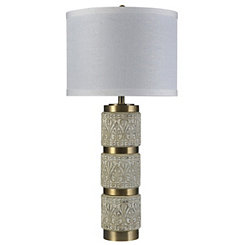 Stacked Brass Ring Scrolled Table Lamp