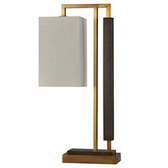 Modern Gold Steel and Faux Wood Table Lamp