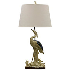 Crane Table Lamp with Blue Glass Night Light