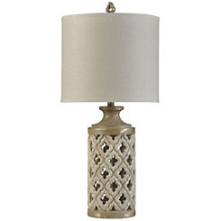 Aged Ivory Open Weave Table Lamp