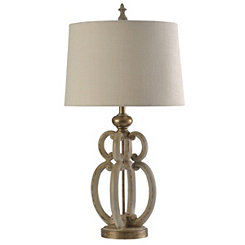 Ivory and Gold Sculpture Table Lamp