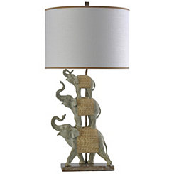 Stacked Blanketed Elephants Table Lamp