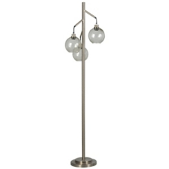 Brushed Steel and Seeded Glass Triple Floor Lamp