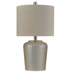 Herringbone Amber Tinted Glass Table Lamp