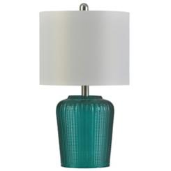 Herringbone Teal Tinted Glass Table Lamp