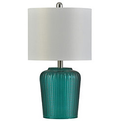 Herringbone Teal Tinted Glass Table Lamp