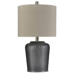 Herringbone Gray Tinted Glass Table Lamp