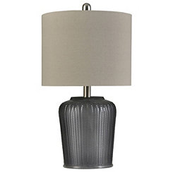 Herringbone Gray Tinted Glass Table Lamp