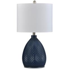 Navy Diamond Cut Glass Table Lamp