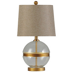 Glass Globe and Gold Band Table Lamp